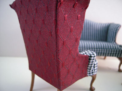 "1"" scale Bespaq Hounds Tooth and Scarlet Wing Sofa Set"