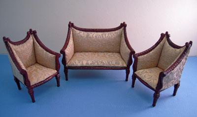 "1"" scale Bespaq mahogany Italia Sofa Set"
