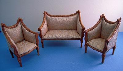 "1"" scale Bespaq Walnut Italia Sofa and Chair Set"