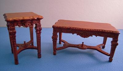 "Bespaq 1"" scale Italia walnut coffee and end tables"