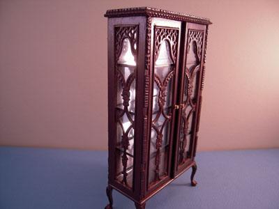 "1"" scale Bespaq old walnut curio cabinet"