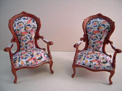 "1"" scale Bespaq walnut Sophia Chairs"