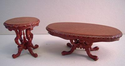 "1"" scale Bespaq Sophia walnut end and coffee table"