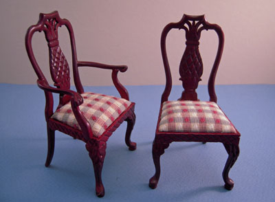 "1"" scale Bespaq Mahogany Martinique Pineapple dining chairs"
