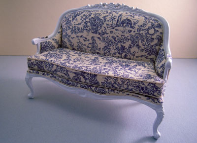 "1"" scale bespaq rene white french toile settee"