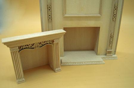 Bespaq Unfinished Fireplace Wall Unit 1:12 Scale