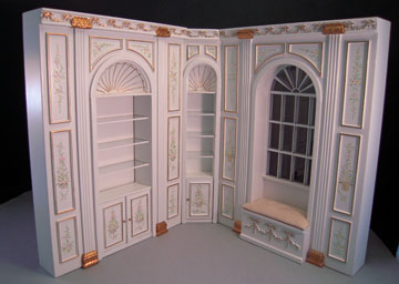 Miniature Bespaq Hand Painted White Manor Decorative Panel