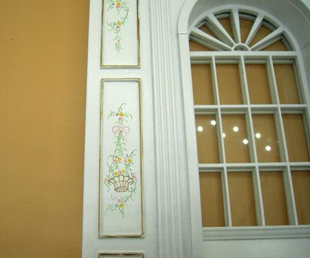 Miniature Bespaq Hand Painted White Manor Window Panel Unit 1:12 Scale
