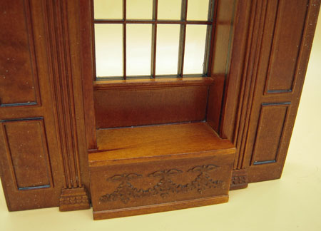 Miniature Bespaq Walnut Manor Panel Window Unit 1:12 Scale