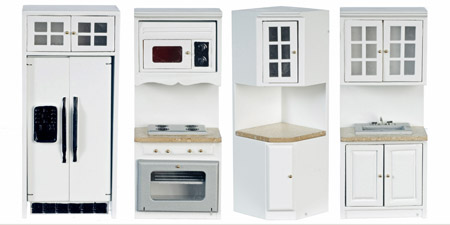 Eight Piece White Kitchen Set 1:12 Scale
