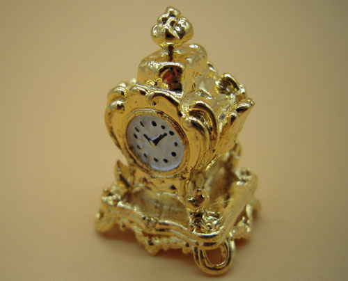 Falcon Collectible Miniatures Small Golden Mantle Clock 1:12