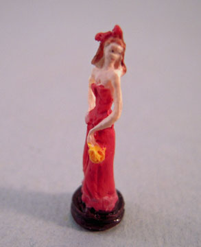 "a4086 1"" scale lady in red statue"