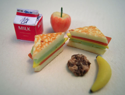 Sandwich, Fruit and Milk Lunch Dollhouse Miniature 1:12 scale