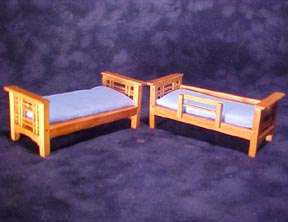 "1/2"" Scale Miniature Bunk Bed 3 5/8""Lx1 5/8""Dx2 13/16""H"