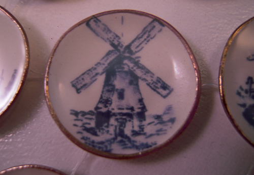 By Barb Seven Piece Decorative Blue Ships and Windmill Plates 1:12 Scale