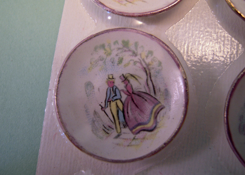 By Barb Six Piece Decorative Pastel Romance Plates 1:12 scale