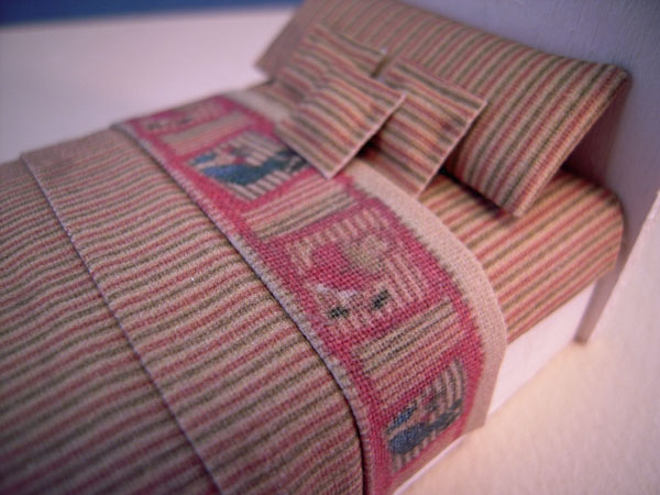 Beige Striped Dressed Child's Bed by Cindy's Minis in 1:24 scale