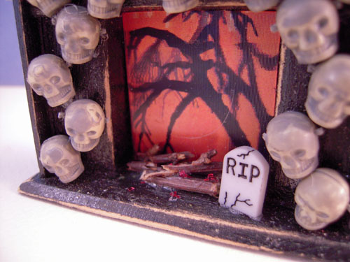 Black Halloween Fireplace by Cindy's Minis 1:24 scale