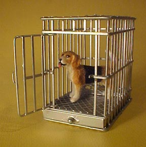 Dog Cage 1:24 Scale Dollhouse Miniature