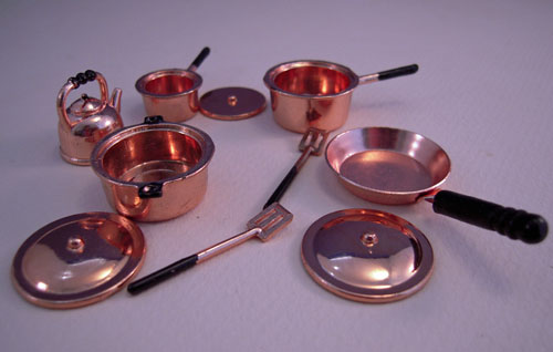 Ten Piece Copper Cookware Set 1:12 Scale