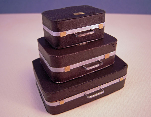 Dollhouse Miniature Set Of Three Suitcases 1:12 Scale