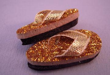 sf44g sparkling gold flip flops