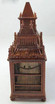 JBM Walnut Victorian Bird Cage with Birds 1:12