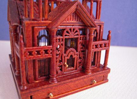 JBM Victorian Walnut Bird Cage 1:12