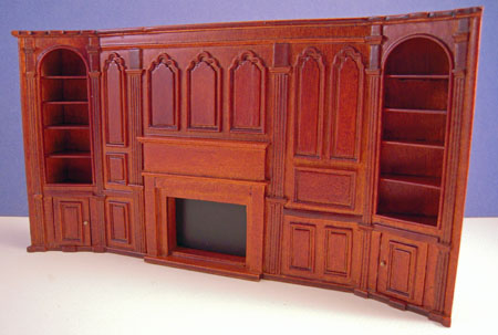 Miniature JBM Walnut Fireplace Wall Unit 1:24 scale