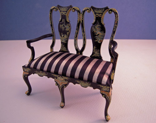 JBM Black Chinoiserie Queen Anne Settee 1:12 Scale