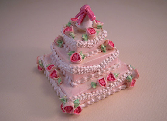 Three Tier Wedding Cake With Pink Flowers 1:12 Scale