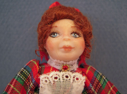 Loretta Kasza Hand Crafted April in Red Plaid 1:12 Scale