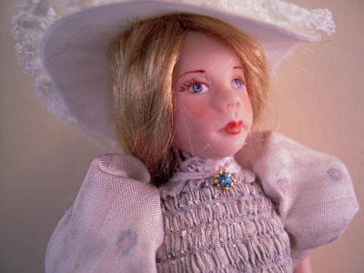 """1"""" scale Loretta Kasza Hand Crafted Gabriella Porcelain Doll"""