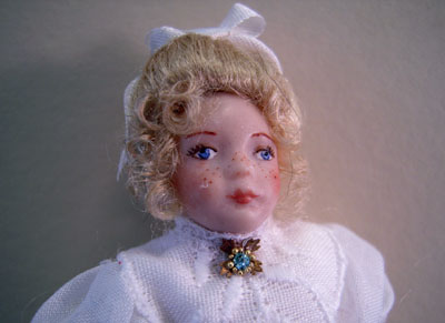 "1"" scale Loretta Kasza Porcelain Doll Iris with Freckles"
