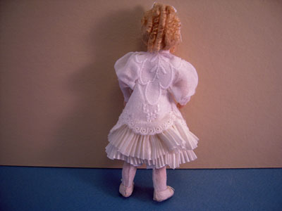 "Loretta Kasza 1"" scale Iris with Freckles in white dress"
