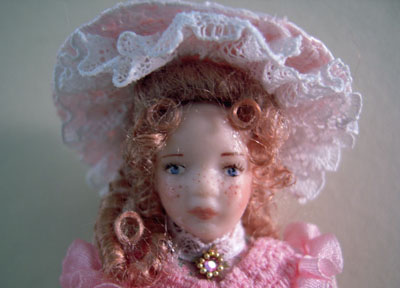 """1"""" scale Loretta Kasza child porcelain doll Sarah with freckles"""