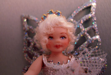 "lk873 1"" scale loretta kasza silver fairy doll sarah"