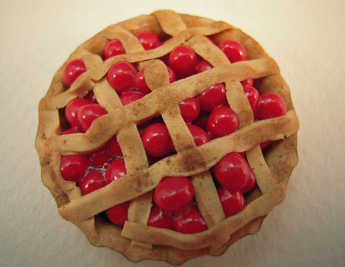 Hand Crafted Cherry Lattice Pie 1:12 Scale