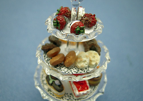Three Tier Filled Glass Pastry Tray 1:12 scale
