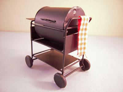 "1"" scale miniature black bar b que grill"