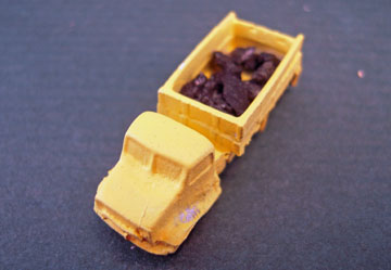 "mbg04 1"" scale yellow pewter dump truck"