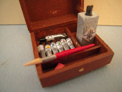 """1"""" scale miniature displays hand crafted small painter's box"""