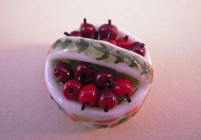 "mm513 1"" scale miniature basket of red cherries"