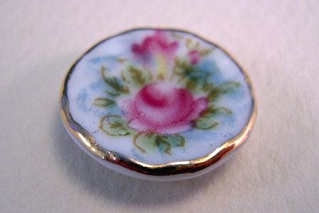 Ni Glo Gold Rose Decorative Plate 1:24 Scale