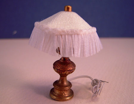 Ni Glo Fringe Shade Brass Table Lamp 1:24 Scale