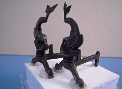 """1"""" Scale Dolphin Andirons by Olde Mountain Miniatures"""