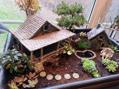 Fairy Garden with pond and fairies