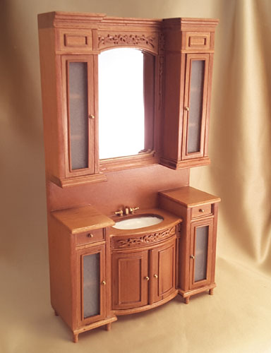 Majestic Mansions 1:12 Cherry Italia Bathroom Vanity Cabinet