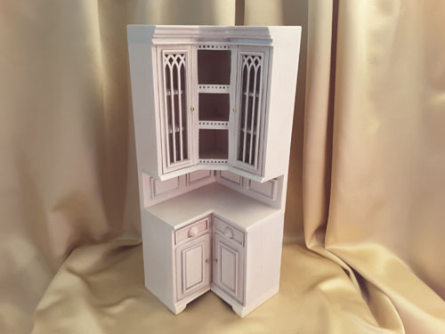 Majestic Mansions Cambridge Manor Washed White Corner Cabinet 1:12 P097WT