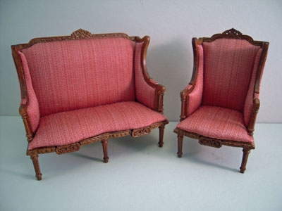 """1"""" scale Platinum Collection Chester living room set love seat and chair"""